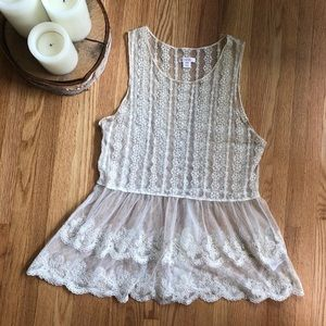 Lace Sheer Overlay Tank
